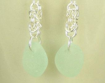 EcoFriendly Earrings, GENUINE Sea Glass Earrrings, Light Blue Sea Glass, Artisan Earrings, Silver Handmade Chainmaille Earrings, Chainmail