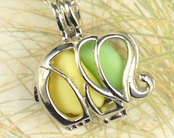 GENUINE Sea Glass Necklace Elephant Locket  Green And Yellow Milk Glass