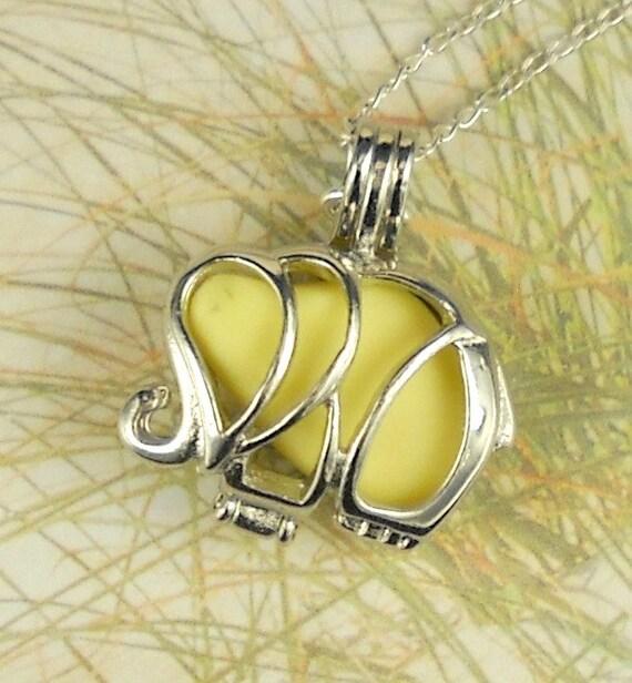 Sea Glass Necklace Elephant Locket Jewelry Yellow Milk Glass