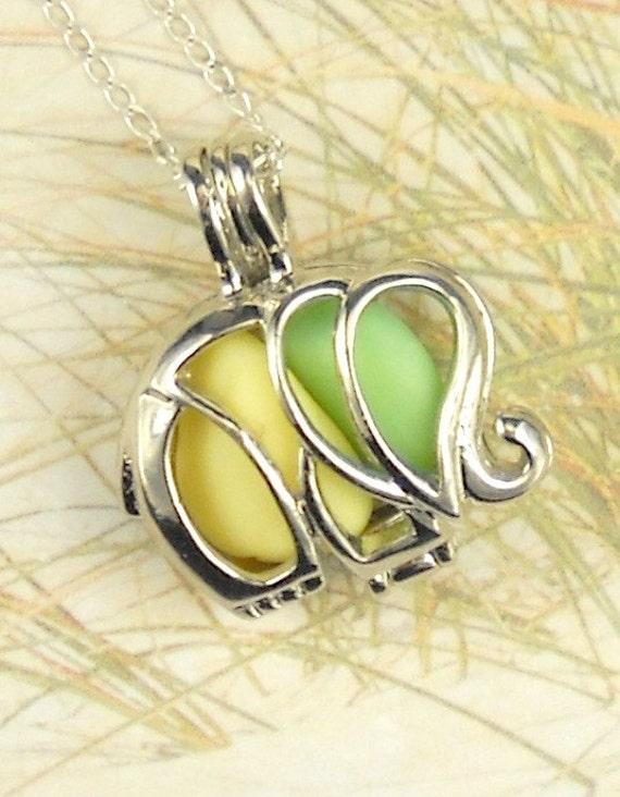 GENUINE Sea Glass Necklace Elephant Locket  Green And Yellow Milk Glass