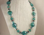 Lampwork Glass Beaded Necklace Blue Green