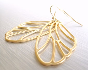 Gold Wing Earrings - matte finish large delicate filigree wing outline on gold plated ball hooks - Butterfly Fairy
