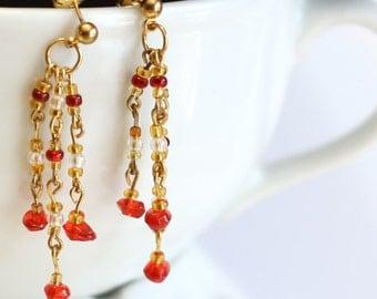 Red and Gold Triple Strand Beaded Earrings, Handmade linked earrings, womens jewelry