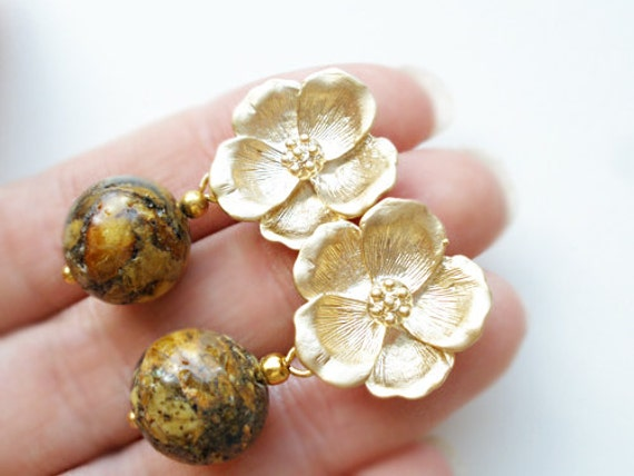 Amber earrings from natural Baltic amber, matt finish gold plated  flowers, silver sterling 925 posts