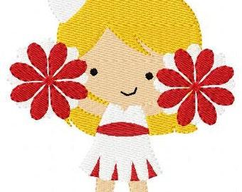 Cheerleader Machine Embroidery Design 5 by 7 // Joyful Stitches