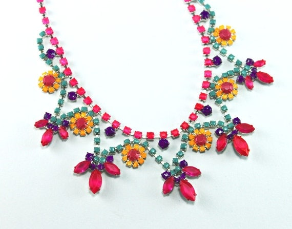 Neon Painted Rhinestone Necklace Fuchsia, Turquoise, Purple, Yellow  OOAK