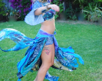 Mermaid Gypsy Faery Belly Dance Festival Scarf Belt Bustle Purple, Turquoise, Multi Layered Up Cycled Fabric Made To Order