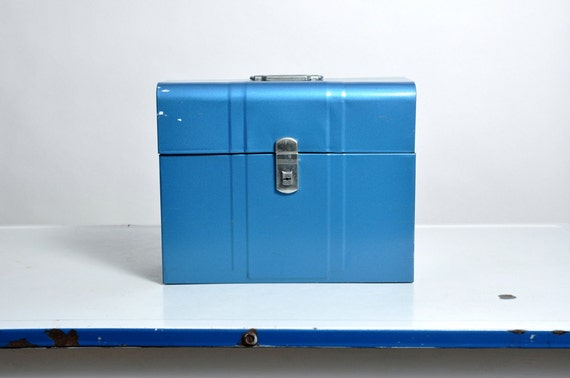 Vintage Mid Century Climax Metal Office File Box in Blue