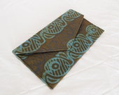 Batik Clutch Purse - Tribal Envelope Clutch Purse ( Blue / Brown / Cotton Batik / Silk Dupioni )