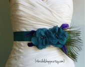 Peacock Bridal Sash Belt, Teal Flowers Sash with Peacock Feathers, Bridal Accessories, Peacock Wedding,
