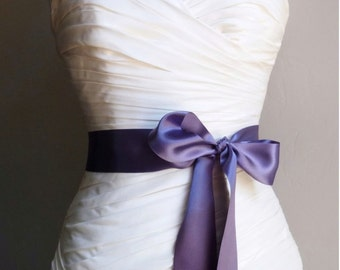 Radiant Orchid - 2 Inch Deep Purple Simple Ribbon Satin Bridal Sash Ready to Ship