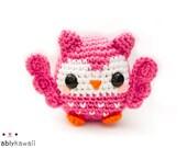 Cute Pink Owl Amigurumi Plush Doll Toy