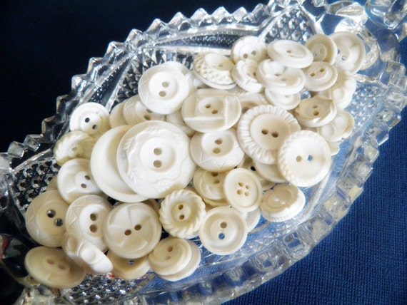 Lot of Vintage White Dress Buttons
