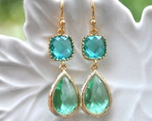 Green blue Earrings Sea Ocean Glass Teardrop in 14k gold plate, bridesmaids gift, bridesmaids earrings