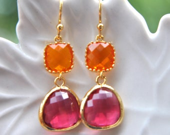 Hot Pink and Orange Earrings in Gold Earwires - Bridal Jewelry, Set of 2, 3, 4, 5 ,6 ,7 ,8 ,9 10, 11, 12 Dangle