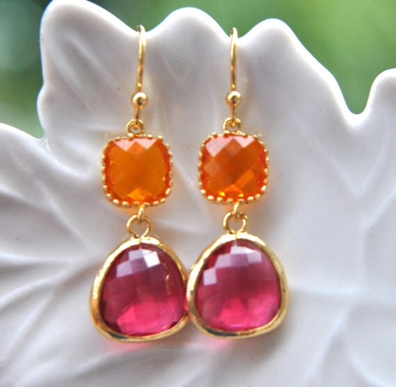 Items Similar To Hot Pink And Orange Earrings In Gold