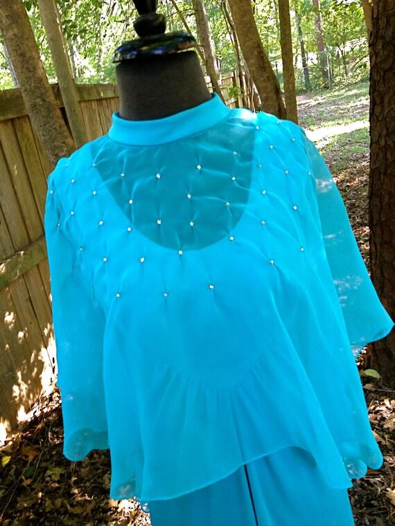 SALE vintage 1970s dress - long aqua empire waist maxi w/ sheer rhinestone cape