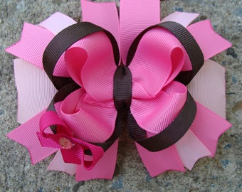 Pink and Brown Hair Bow Large Boutique Stacked Hair Bow