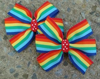 3 inch pigtails Hair Bows Rainbow Hair Bows Pigtails Hair Bow Set Pigtail Hair Clip
