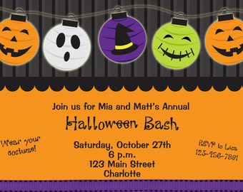 Halloween party invitation --  Halloween birthday party invitation -- You print or I print