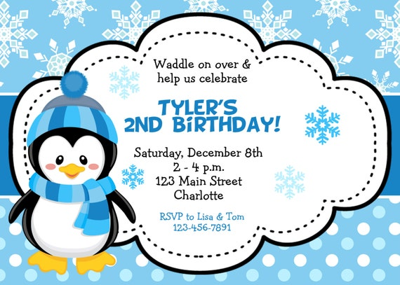 photo contest name ideas - Penguin birthday party invitation winter birthday