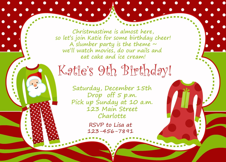 Christmas Birthday Party Invitation Slumber Birthday