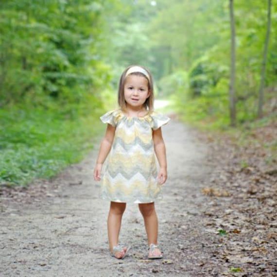 Chevron Yellow and Grey Cap Sleeve Peasant Dress