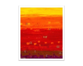 "Large Fine Art PRINT 20""x24""-ABSTRACT Original Indian Summer  yellow orange red"