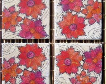 CHRISTMAS GIFT coasters tile coasters HANDMADE- Flower coasters gift red orange with original artwork drink coasters-set of 4 gift under 30