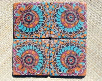 TILE COASTERS HANDMADE  with original artwork-set of 4 turquoise orange magenta
