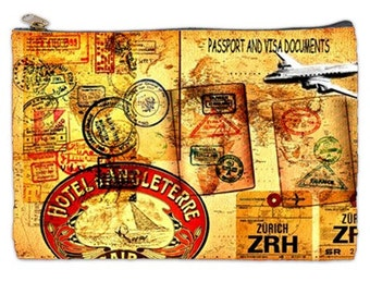 Travel and document bag, visa pouch, passport holder, passport and visa document holder, travel case, zipper pouch, vintage travel stamps