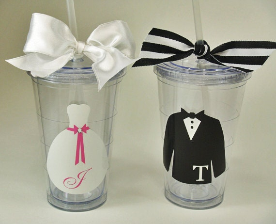 Bride And Groom 20 oz. Tumblers - White Satin Ribbon - Sparkle Crystal On Wedding Gown - Bridal Shower - Bride, Bridesmaid, Flower Girl