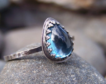 London Blue Topaz Ring in Sterling Silver - Smooth Waters - 6x8mm Pear in Crown Bezel