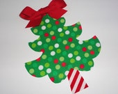 Iron On Fabric Applique Multi Dot CHRISTMAS TREE Red Bow Peppermint Stem