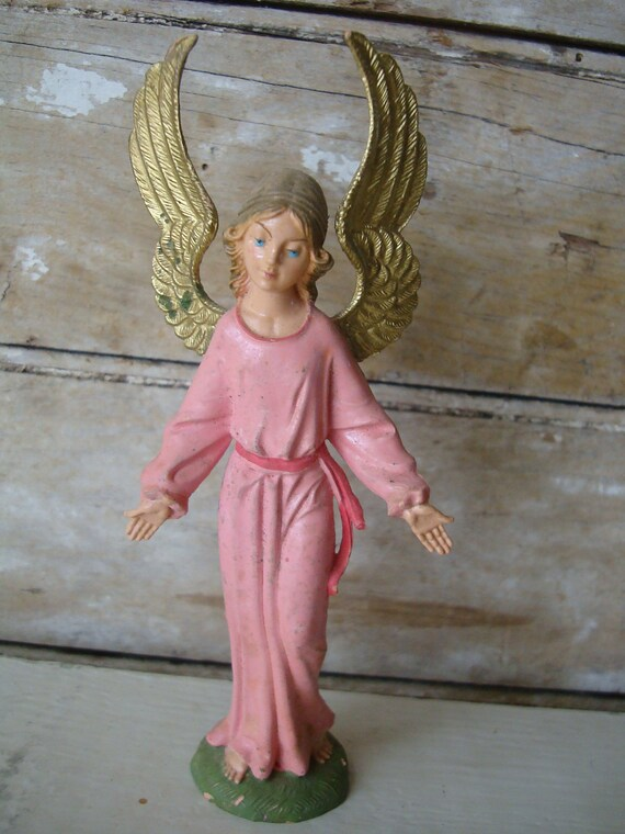 Vintage Angel Pink Italy Shabby Chic Nativity Replacement or Your Private Collection