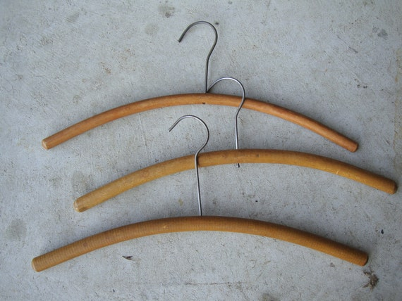 Vintage Rounded Wooden Hangers Set of 3