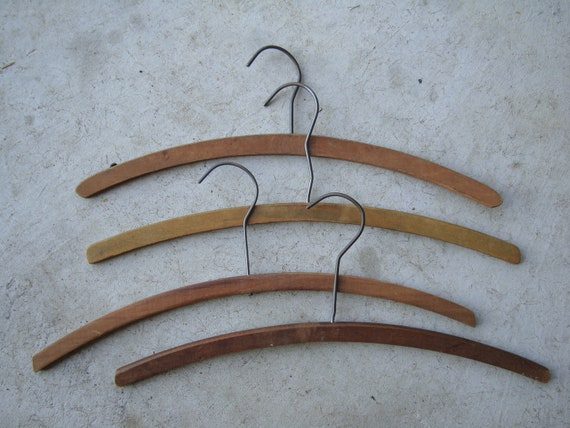 Vintage Dark Wooden Clothes Hangers Set of 4