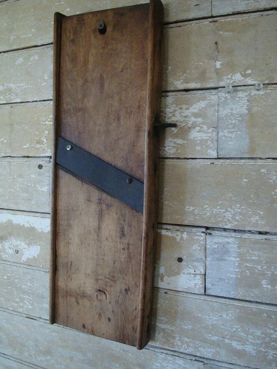 Vintage Primitive Wood Wooden Farm Garden Mandolin Cabbage Slicer