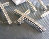 Sale-High quality Silver plated with Clear Cyrstal Rhinestones sideways crosses Bracelet Connector--25mm x 48mm