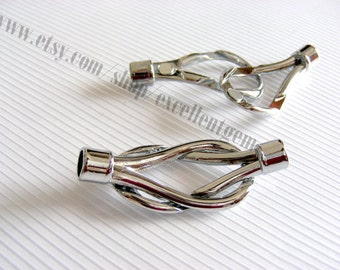 1 set - Magnetic Silver tone Clasp for leather -48mm x 20mm,Hole 6mm