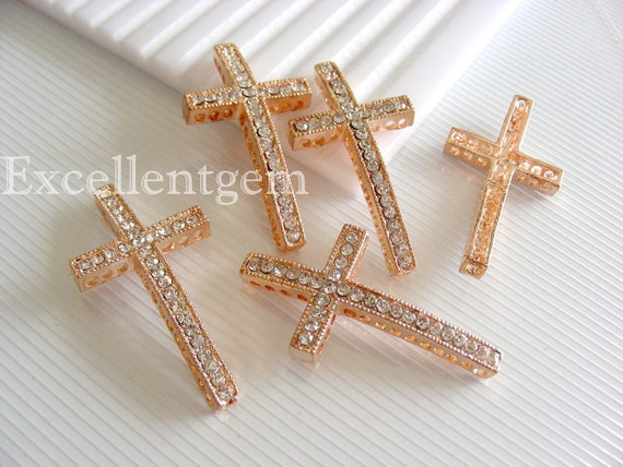 20% Off---5pcs High quality rose gold tone with white Cyrstal Rhinestones sideways crosses Bracelet Connector--25mm x 48mm
