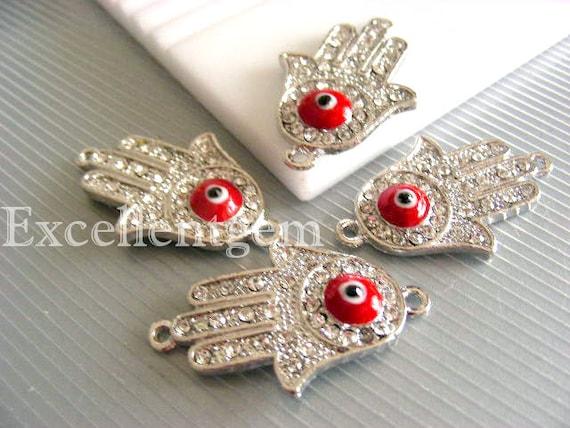 Hands of Fatima Hamsa rhinestone connector 5pcs High quality silver tone with red evil eye,clear rhinestone  Bracelet Connector