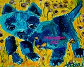 Blue Cat Violets original pallet knife oil painting by Melissa BEE 9x12