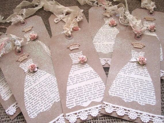 French Script Bridesmaid Tags Set of 8 - Vintage Wedding - Shabby Chic Wedding