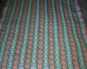 Pink Petals Mile A Minute Baby Afghan and Headband