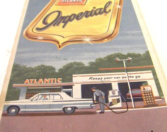 Vintage Road Map - 1964 - Gas Station Ephemera - Washington DC Atlantic Imperial - Converged Commodities epsteam vestiesteam thebestvintage