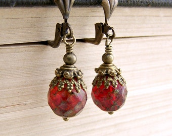 Venetian Red Earrings - faceted Czech glass beads with a Picasso finish - Valentine Earrings