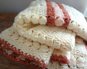 Vintage 1970s Crochet Baby Blanket