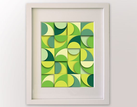 Greenery inspired art - spring home decor - geometric patterns - color composition - mid century modern art - green - 8x10 art print