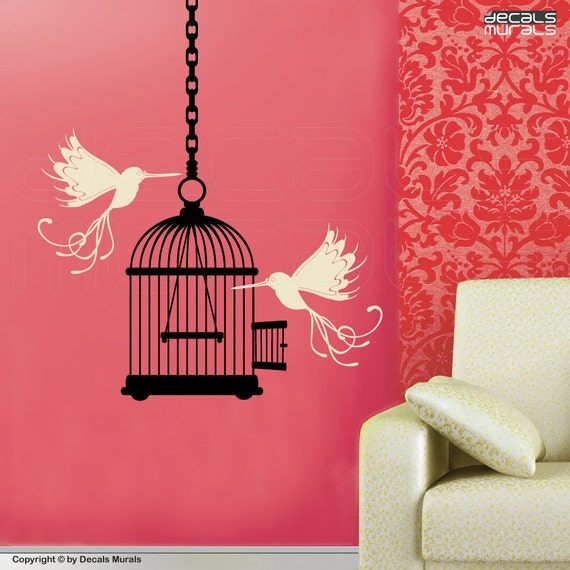Wall decals Whimsical BIRDS & BIRD CAGE surface graphics interior decor by Decals Murals